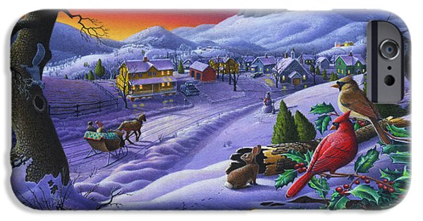 Small iPhone Cases -  Christmas Sleigh Ride Winter Landscape Oil Painting - Cardinals Country Farm - Small Town Folk Art iPhone Case by Walt Curlee