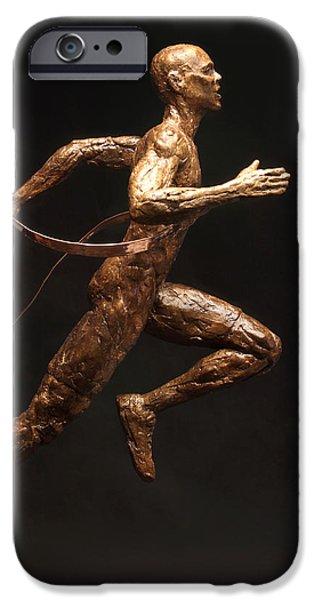 Figure Sculptures iPhone Cases - Olympic Runner Citius Altius Fortius  iPhone Case by Adam Long