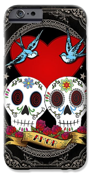 Love Drawings iPhone Cases - Love Skulls II iPhone Case by Tammy Wetzel