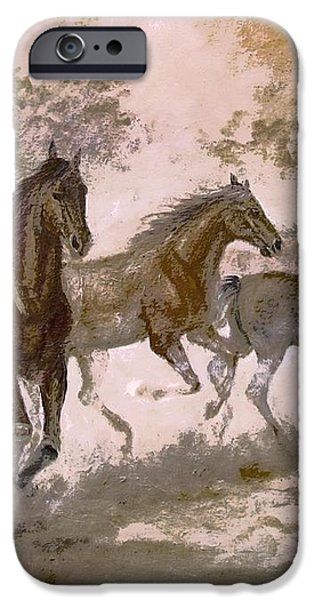 Horse Painting A dream of running wild iPhone Case by Gina Femrite