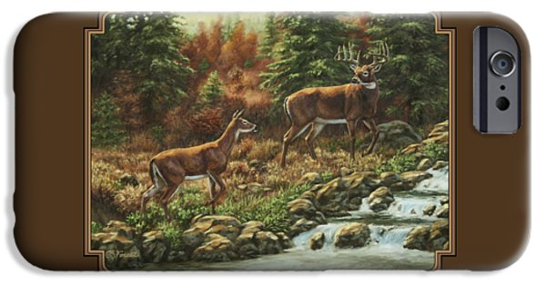 Autumn Trees iPhone Cases - Whitetail Deer - Follow Me iPhone Case by Crista Forest