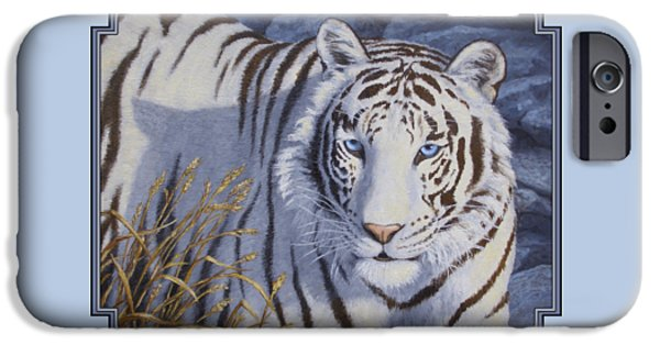 Jungle iPhone Cases - White Tiger - Crystal Eyes iPhone Case by Crista Forest