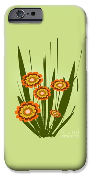 Lime iPhone Cases - Orange Flowers iPhone Case by Anastasiya Malakhova