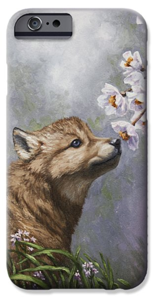 Pup iPhone Cases - Wolf Pup - Baby Blossoms iPhone Case by Crista Forest