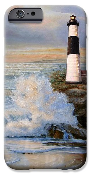 Canvassing iPhone Cases - Big Sable Point Lighthouse with crashing waves  iPhone Case by Gina Femrite