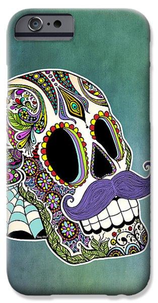 Sunflower iPhone Cases - Mustache Sugar Skull iPhone Case by Tammy Wetzel