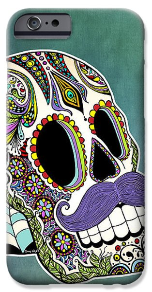 Skeleton Drawings iPhone Cases - Mustache Sugar Skull iPhone Case by Tammy Wetzel