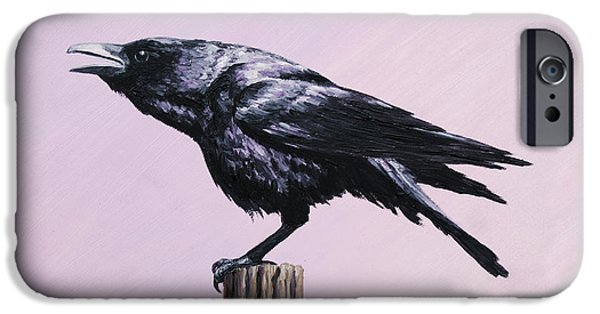 Crows Paintings iPhone Cases - Crow - Sounding Off iPhone Case by Crista Forest