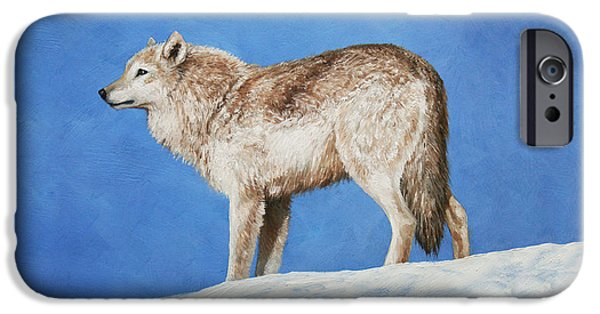 Dogs In Snow. Paintings iPhone Cases - Snowy Wolf iPhone Case by Crista Forest