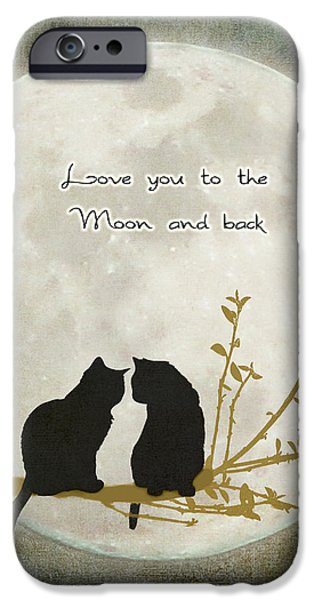Adoration iPhone Cases - Love you to the moon and back iPhone Case by Linda Lees