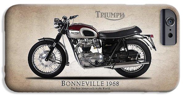 Motorcycle iPhone Cases - Triumph Bonneville 1968 iPhone Case by Mark Rogan