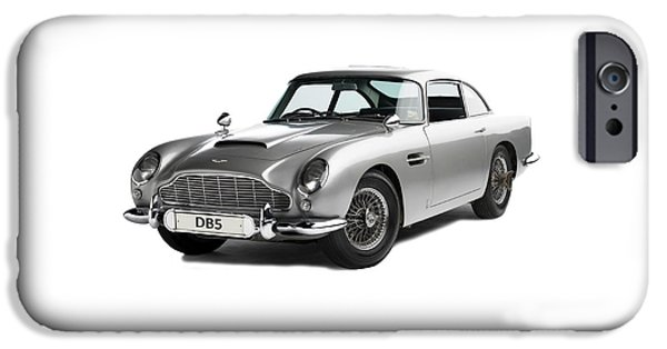 Sport Car iPhone Cases - Aston Martin DB5 iPhone Case by Mark Rogan