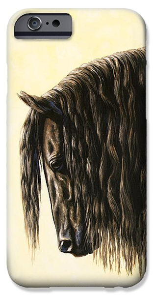 Equine Art iPhone Cases - Horse Painting - Friesland Nobility iPhone Case by Crista Forest