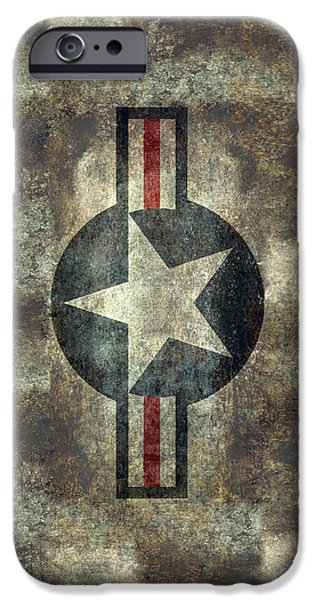 Marine Corps Digital iPhone Cases - US Air Force roundel with star iPhone Case by Bruce Stanfield