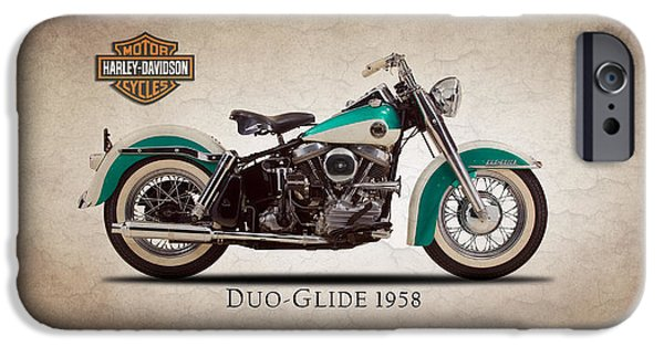 Motorcycle iPhone Cases - Harley Davidson Duo-Glide 1958 iPhone Case by Mark Rogan