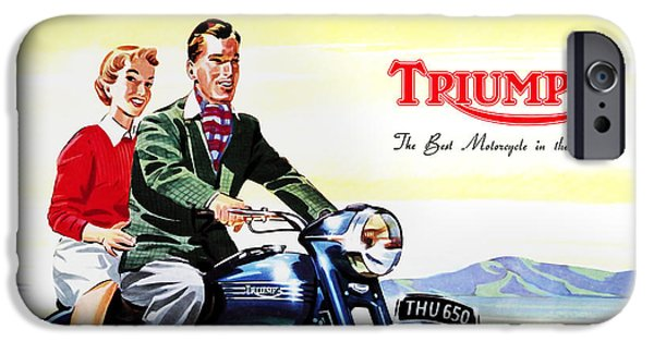 Motorcycle iPhone Cases - Triumph 1953 iPhone Case by Mark Rogan