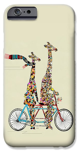 Giraffes iPhone Cases - Giraffe Days Lets Tandem iPhone Case by Bri Buckley