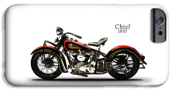 Motorcycle iPhone Cases - Indian Chief 1937 iPhone Case by Mark Rogan