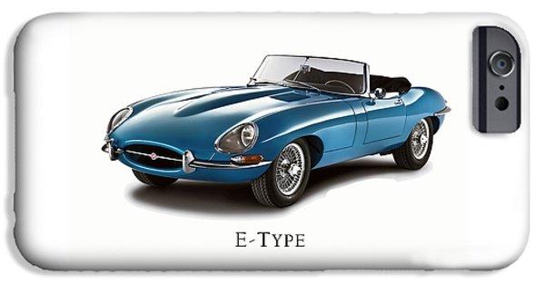 Jaguars iPhone Cases - Jaguar E-Type iPhone Case by Mark Rogan