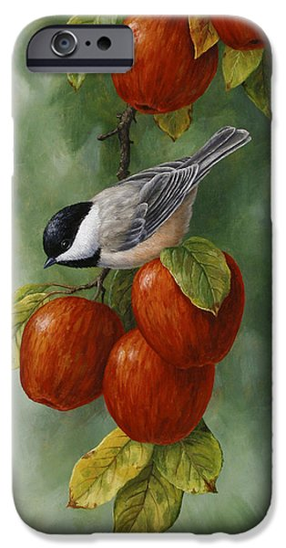 Autumn Woods iPhone Cases - Bird Painting - Apple Harvest Chickadees iPhone Case by Crista Forest