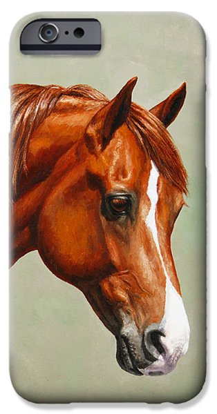 Farm Animals Paintings iPhone Cases - Morgan Horse - Flame iPhone Case by Crista Forest
