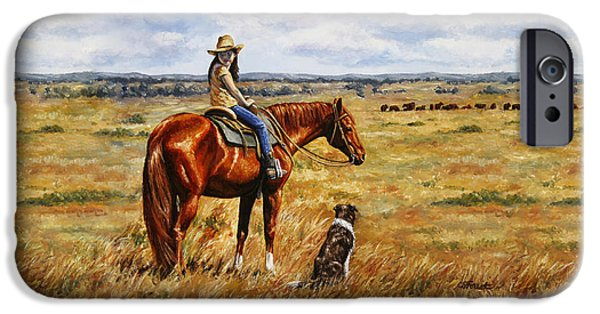 Cattle Dog iPhone Cases - Horse Painting - Waiting for Dad iPhone Case by Crista Forest