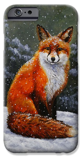 Dogs iPhone Cases - Snow Fox iPhone Case by Crista Forest