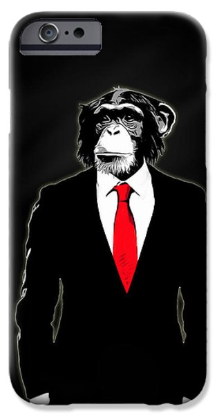 Office iPhone Cases - Domesticated Monkey iPhone Case by Nicklas Gustafsson