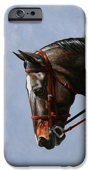 Horseback Riding iPhone Cases - Horse Painting - Discipline iPhone Case by Crista Forest