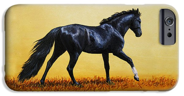 Animal Cards iPhone Cases - Horse Painting - Black Beauty iPhone Case by Crista Forest