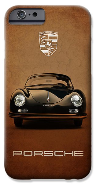 Vintage Cars iPhone Cases - Porsche 356 iPhone Case by Mark Rogan