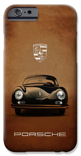 Cars iPhone Cases - Porsche 356 iPhone Case by Mark Rogan