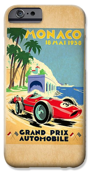 Motor Sport iPhone Cases - Monaco 1958 iPhone Case by Mark Rogan