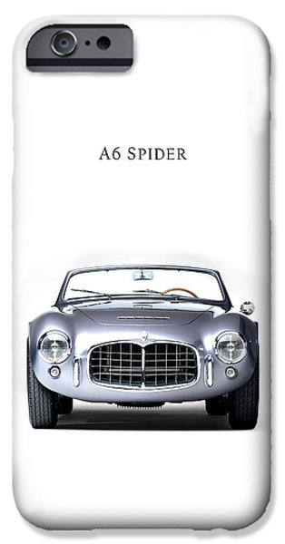 Motor Sport iPhone Cases - Maserati A6 Spider iPhone Case by Mark Rogan