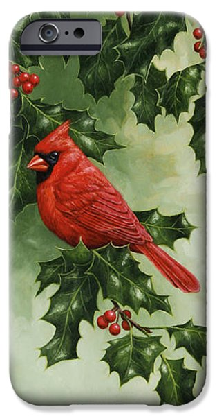 Christmas Greeting iPhone Cases - Cardinals Holiday Card - Version without snow iPhone Case by Crista Forest