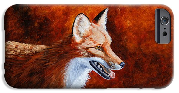 Fox Paintings iPhone Cases - Red Fox - A Warm Day iPhone Case by Crista Forest