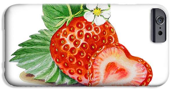 Strawberries iPhone Cases - ArtZ Vitamins A Strawberry Heart iPhone Case by Irina Sztukowski