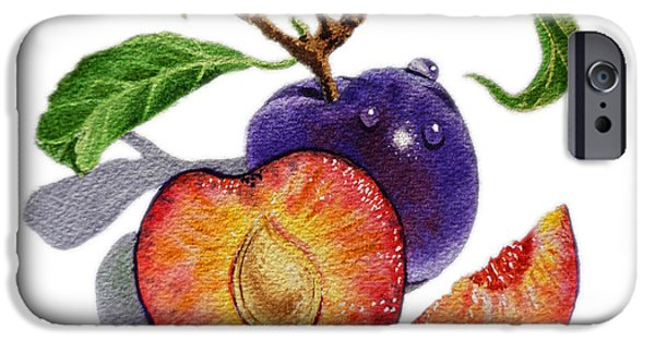 Freed Paintings iPhone Cases - ArtZ Vitamins The Heart of A Plums iPhone Case by Irina Sztukowski