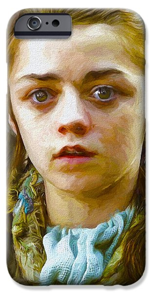 Celebrities Art iPhone Cases - Arya Stark I - Game Of Thrones iPhone Case by Nikola Durdevic