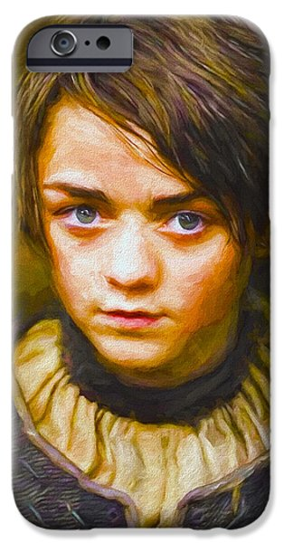 Celebrities Art iPhone Cases - Arya Stark II - Game Of Thrones iPhone Case by Nikola Durdevic