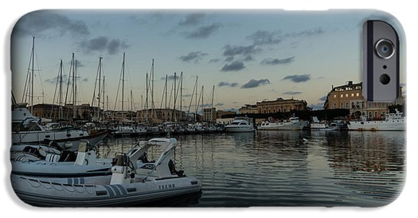Sailboat Ocean iPhone Cases - As the Evening Gently Comes - Ortygia Syracuse Sicily Grand Harbor iPhone Case by Georgia Mizuleva