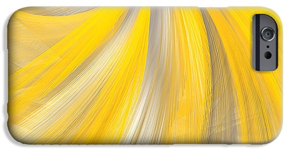 Brilliant Paintings iPhone Cases - As The Sun Shines - Yellow And Gray Art iPhone Case by Lourry Legarde