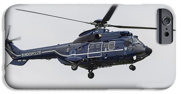 Law Enforcement iPhone Cases - As332 Super Puma Helicopter iPhone Case by Timm Ziegenthaler