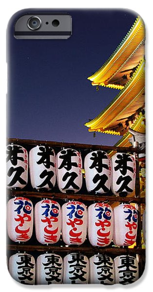 Asakusa Kannon Temple Pagoda and Lanterns at Night iPhone Case by Christine Till