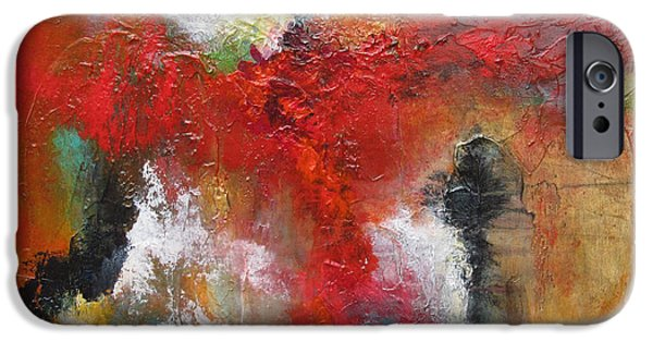 Multimedia Paintings iPhone Cases - Ascending Red iPhone Case by Marilyn Woods