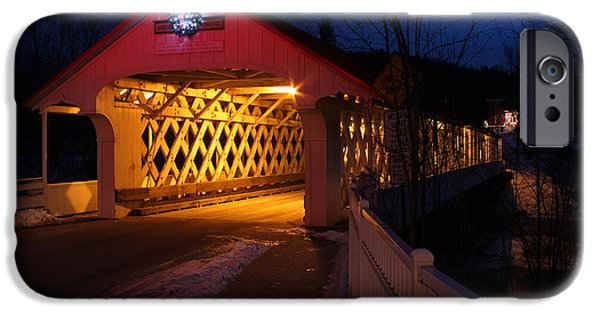 Covered Bridge iPhone Cases - Ashuelot Covered Bridge iPhone Case by John Burk