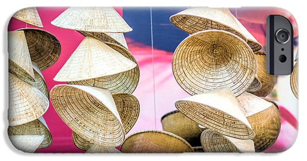 Cut-outs iPhone Cases - Asian Hats iPhone Case by Jijo George
