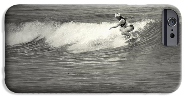 Business Photographs iPhone Cases - Asilomar Surfing Girls Do It Too iPhone Case by Joyce Dickens