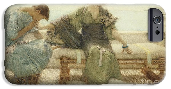 Cushion iPhone Cases - Ask me no more....for at a touch I yield iPhone Case by Sir Lawrence Alma-Tadema