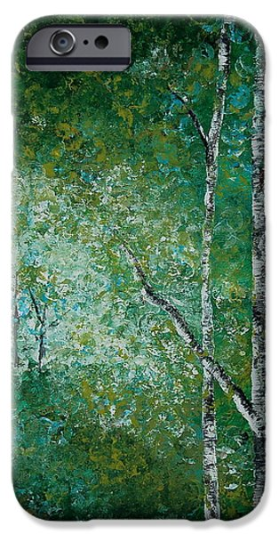 Nature Study Paintings iPhone Cases - Aspen Forest iPhone Case by Tamyra Crossley